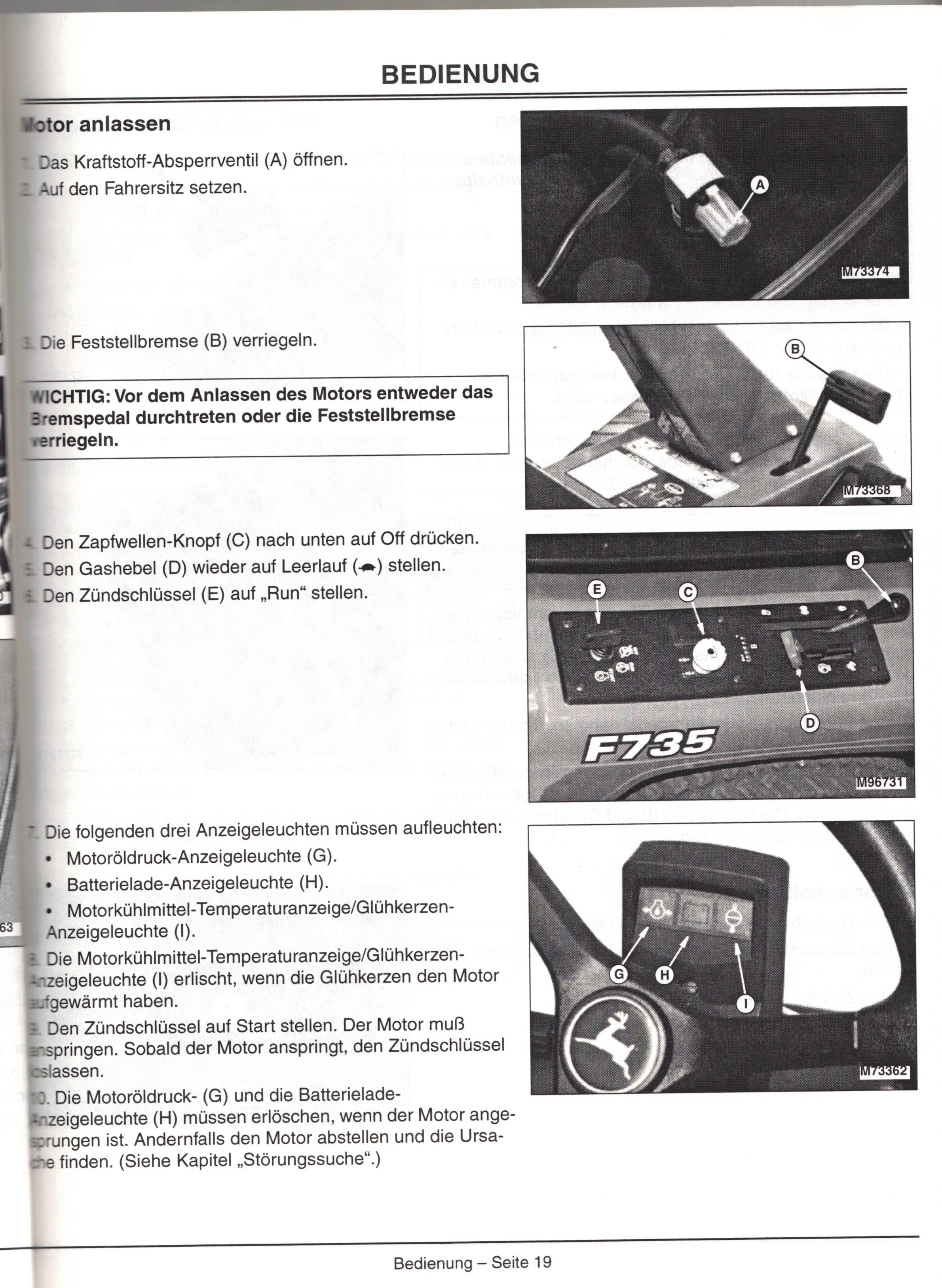 Bedienungsanleitung Kompaktfrontmäher John Deere F735