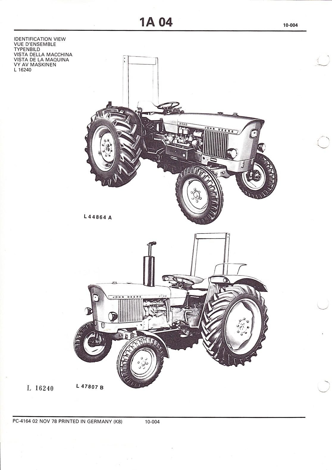 Ersatzteilkatalog John Deere Traktoren 2020 und 2120