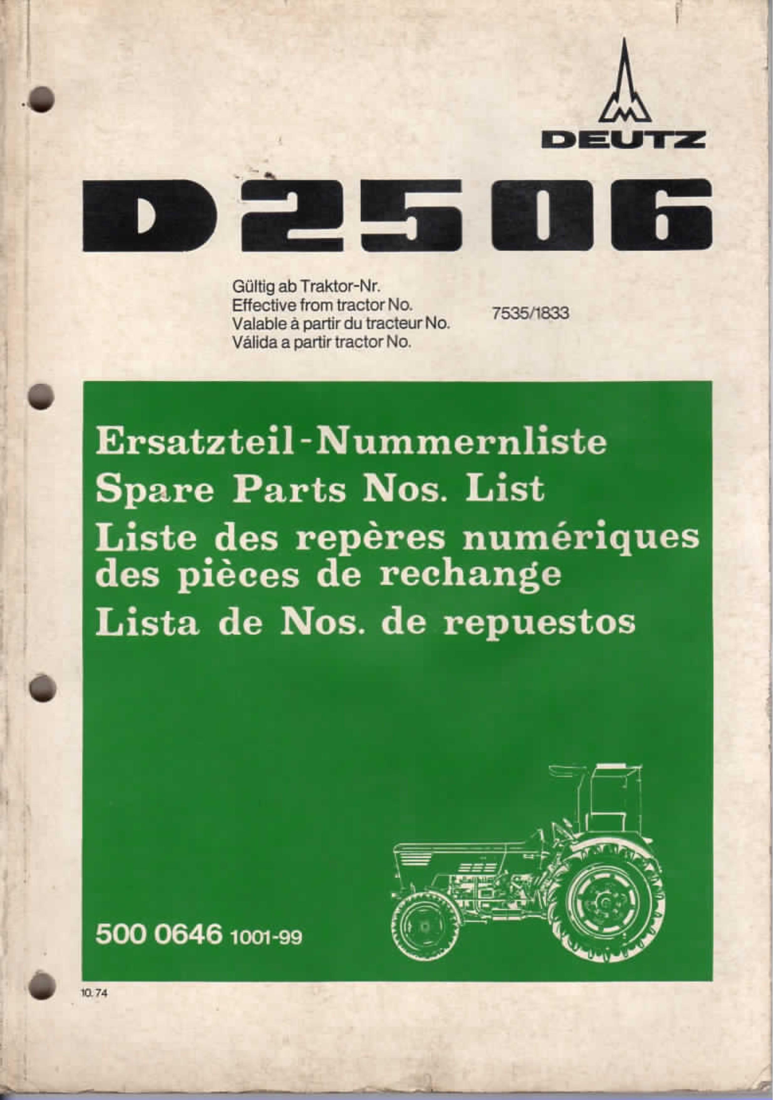 Deutz Schlepper D2506 Ersatzteil-Katalog