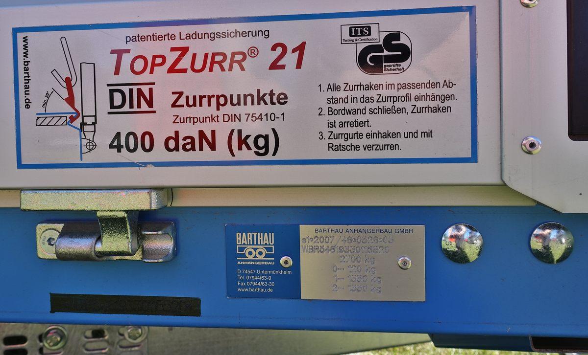 PKW-Anhänger Barthau ECO Toplader EH2702