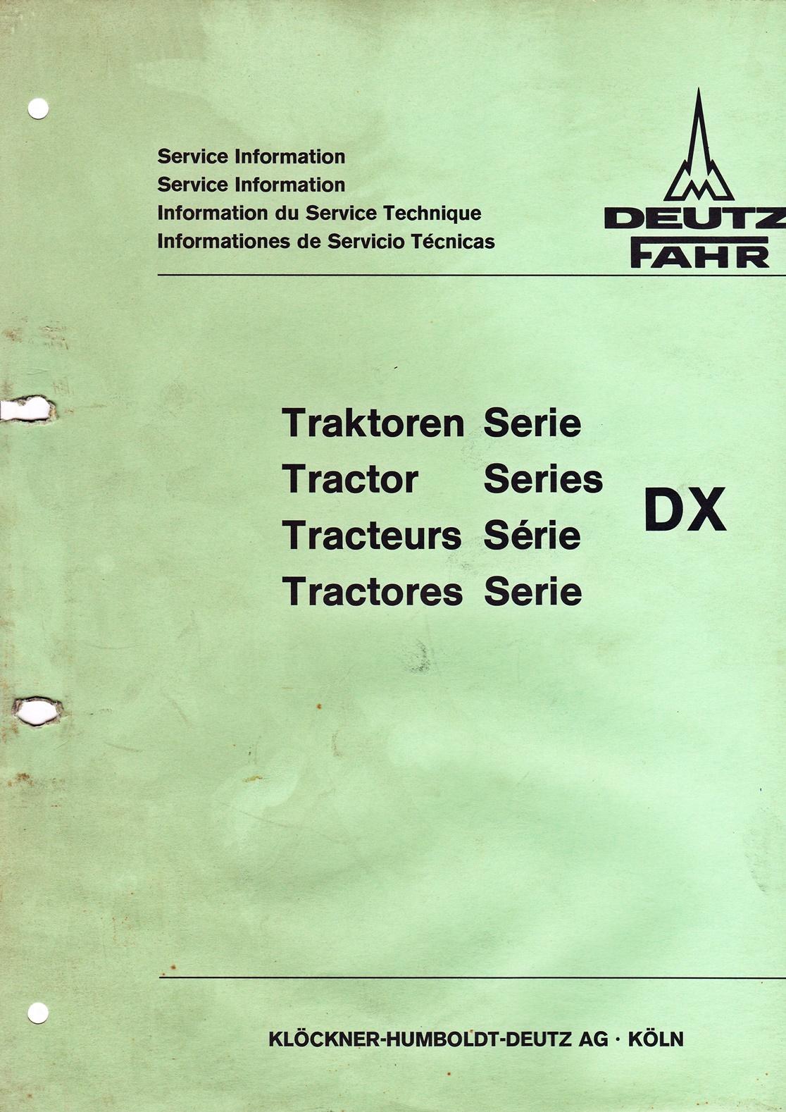 Service Informationen, Deutz Fahr Traktoren der Serie DX