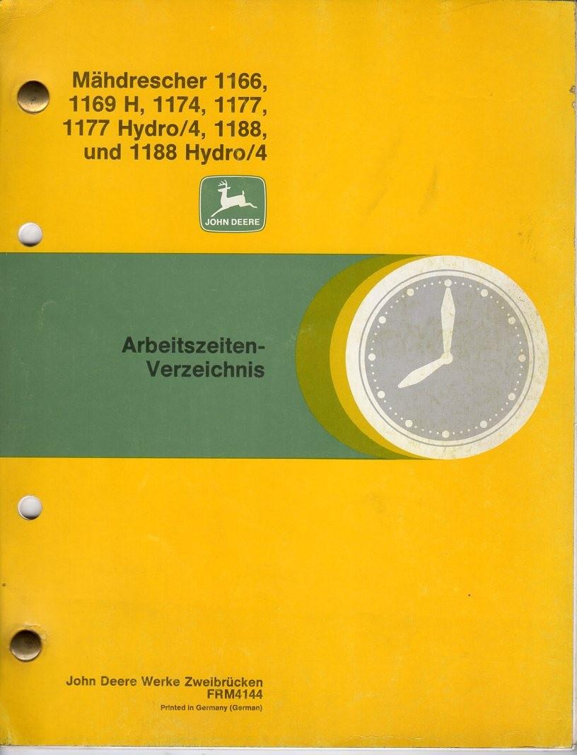 Arbeitszeiten-Verzeichnis Mähdrescher John Deere 1166