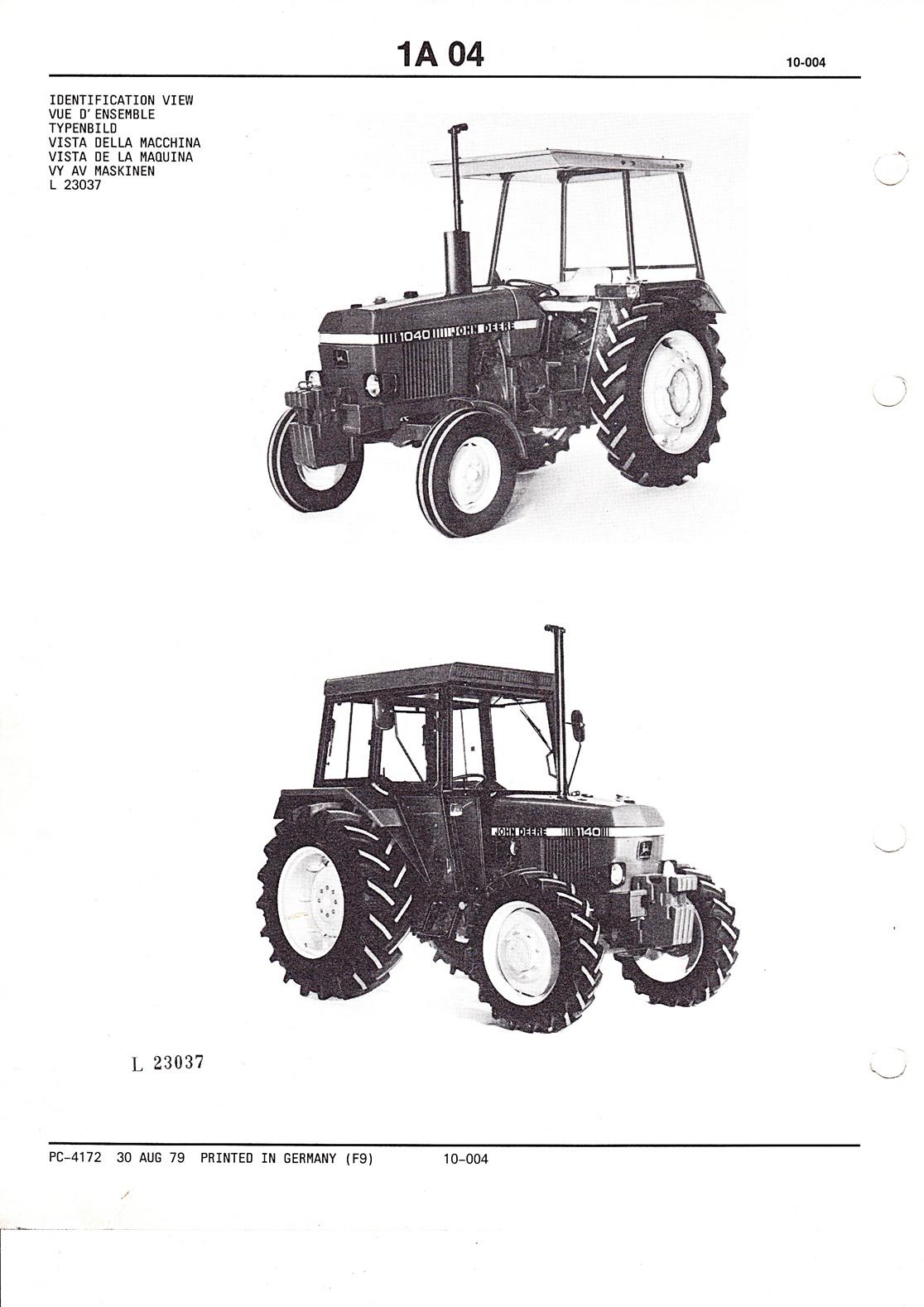 Ersatzteilkatalog John Deere Traktoren 1040 und 1140